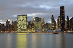 Manhattan skyline at evening. A twilight view of the Manhattan skyline Royalty Free Stock Images