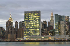 Manhattan skyline at evening. A twilight view of the Midtown Manhattan skyline. Additional format NEF available stock images