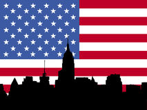 Manhattan skyline and flag Stock Photos