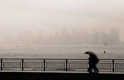 Manhattan skyline in the fog, New York royalty free stock photos