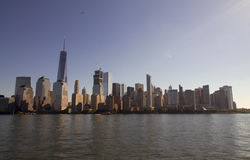 Manhattan skyline with freedom tower. Waterfront Royalty Free Stock Image