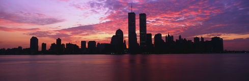 This is the Manhattan skyline from Jersey City, New Jersey at sunrise. The World Trade towers are in the center and the skyline is Stock Photography