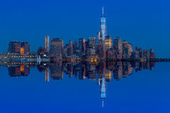 Manhattan Skyline from Jersey at twilight Royalty Free Stock Photography