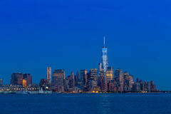 Manhattan Skyline from Jersey at twilight Stock Images