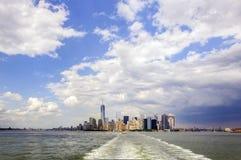 Manhattan Skyline. Lower Manhattan skyline view from Staten Island Ferry Stock Photos