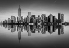 Manhattan Skyline, Manhattan, New York, USA. A Black and White Panoramic view of the Manhattan Skyline, New York, USA Royalty Free Stock Image