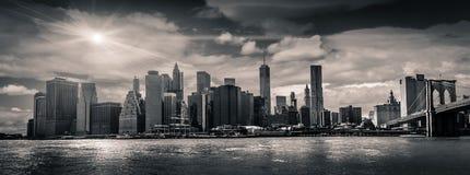 Manhattan Skyline, Manhattan, New York, USA. A Black and White Panoramic view of the Manhattan Skyline, New York, USA Stock Photo