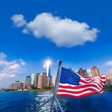 Manhattan skyline New York American Flag Royalty Free Stock Photo