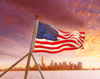 Manhattan skyline New York with American flag US Royalty Free Stock Photography
