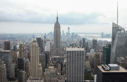 Manhattan Skyline, New York City. View of the Empire State Building looking south down the island of Manhattan, New York City.  View of the modern architecture Royalty Free Stock Photos