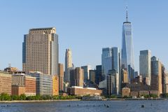 Manhattan skyline in New York City royalty free stock photos