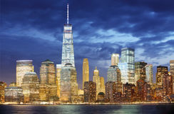 Manhattan skyline, New York City at night Stock Photos