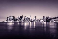 Manhattan skyline. New York city. USA. Panoramic view. Pink tones. Manhattan skyline. New York city. USA. Panoramic view with pink tones Royalty Free Stock Photography