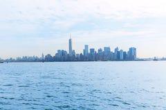 Manhattan skyline New York from Liberty Island Royalty Free Stock Photos