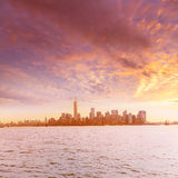 Manhattan skyline New York from Liberty Island Royalty Free Stock Photos