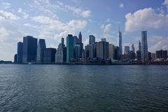 Manhattan skyline in New York. Scenic view of downtown skyline of Manhattan in New York city viewed from sea, U.S.A Stock Photos
