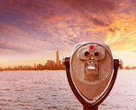 Manhattan skyline New York telescope at Liberty Stock Image