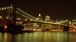Manhattan skyline by night Royalty Free Stock Images