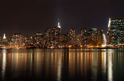 Manhattan Skyline at Night. View from Brooklyn  of midtown Manhattan skyline Royalty Free Stock Photos