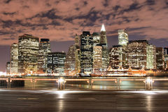 Manhattan skyline At Night Royalty Free Stock Image
