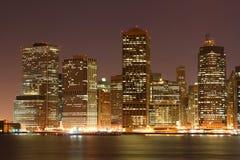 Manhattan Skyline at Night Stock Image