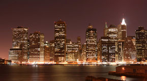 Manhattan Skyline at Night Royalty Free Stock Images
