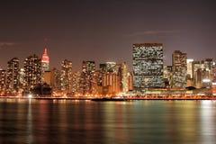 Manhattan skyline at Night Royalty Free Stock Photos