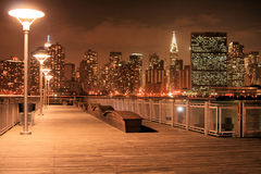 Manhattan skyline at Night Stock Photos