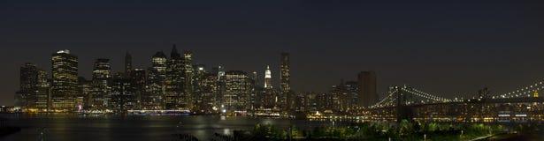 Manhattan skyline night Stock Images