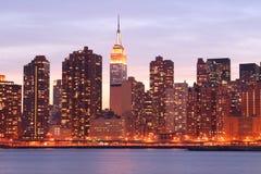 Manhattan skyline at Night stock photography