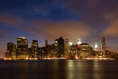 Manhattan skyline by night Royalty Free Stock Image