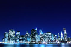 Manhattan skyline at Night Lights, New York City Stock Images