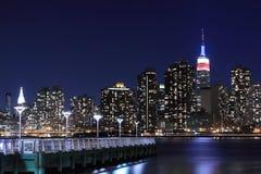 Manhattan skyline at Night, New York City Royalty Free Stock Photos