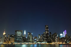 Manhattan skyline at Night, New York City Royalty Free Stock Image