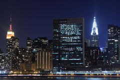 Manhattan skyline at Night, New York City Stock Photography