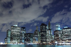 Manhattan Skyline At Night, New York City Royalty Free Stock Images