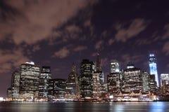 Manhattan Skyline At Night, New York City Stock Image