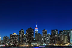 Manhattan Skyline at Night, New York City Royalty Free Stock Photography