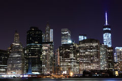 Manhattan Skyline At Night, New York City Royalty Free Stock Photo