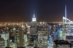 Manhattan skyline at night, New York City, USA Stock Photo