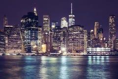 Manhattan skyline at night, New York City, USA. Stock Image