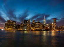 Manhattan skyline night shot Stock Image