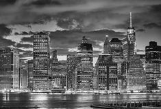 Manhattan skyline at night, USA. Black and white picture of Manhattan skyline at night, New York City, USA Royalty Free Stock Photography