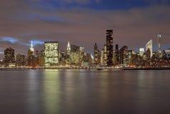 Manhattan skyline at night. A night view of the Manhattan skyline Stock Images