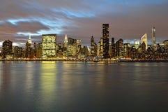 Manhattan skyline at night. A night view of the Manhattan skyline Royalty Free Stock Photography