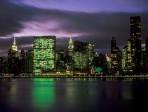 Manhattan skyline at night. A night view of the Manhattan skyline Stock Photo