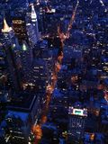 Manhattan skyline at night. View of the Manhattan skyline at night from the Empire State Building Stock Photos