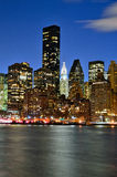 Manhattan skyline at night. Stock Photo