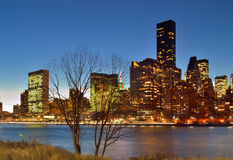 Manhattan skyline at night. Stock Photos