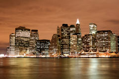 Manhattan skyline at Nights Royalty Free Stock Photos